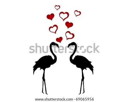 Silhouettes of two flamingos in love