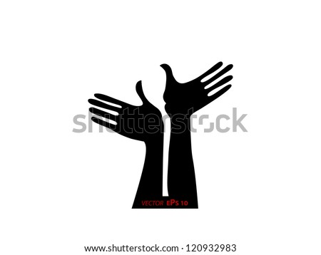 Silhouettes of two hands