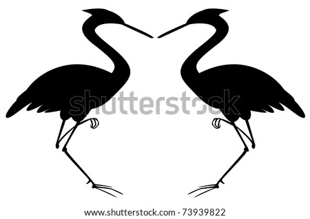 Silhouettes of two herons standing on one leg on a white background