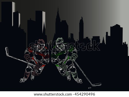 silhouettes of two hockey