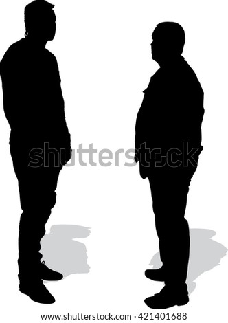 Silhouettes of two men looking at each other