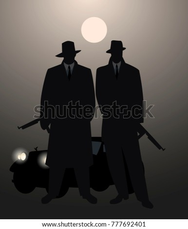 silhouettes of two men with