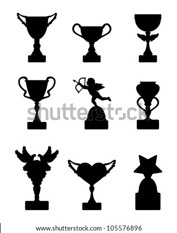Silhouettes of various cup