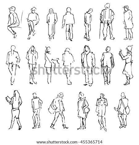 Silhouettes of walking people, carrying bags, talking on the phone etc, Hand drawn vector engraved sketch illustration isolated on white background line art vintage style for design printing, web site