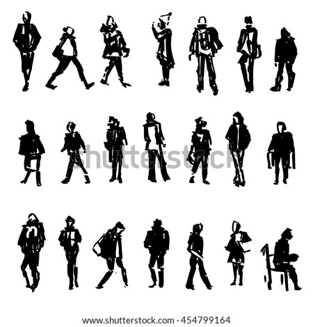 Silhouettes of walking,standing, sitting people, carrying bag, talking on the phone etc, Hand drawn vector sketch illustration isolated on white background for design printing, web site, magazine page