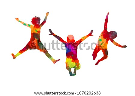 Silhouettes of watercolor jumping children. Vector