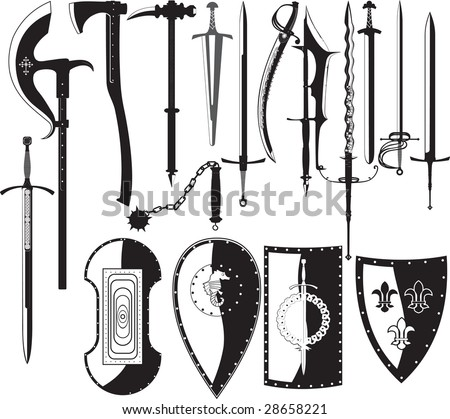 silhouettes of weapons