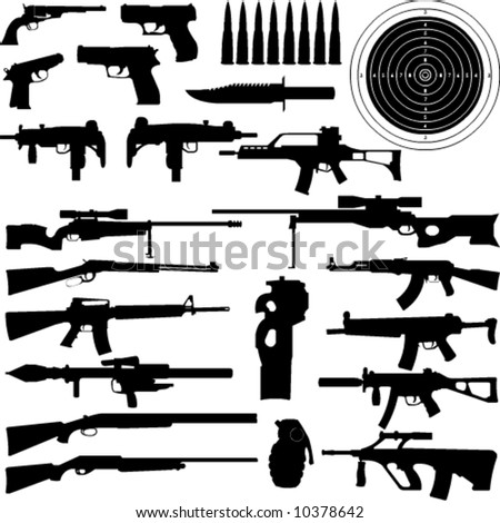 silhouettes of weapons  guns