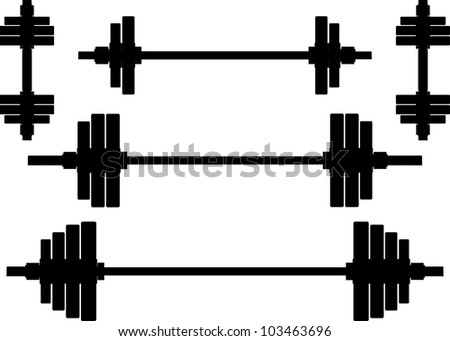 silhouettes of weights. second variant. vector illustration