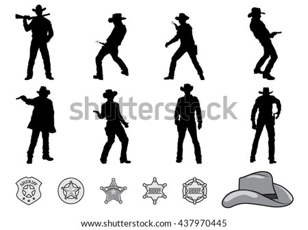 silhouettes of western cowboys