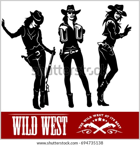silhouettes of western cowgirls