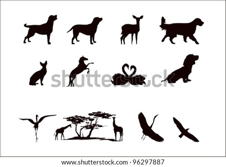 silhouettes of wild animals and pets in black and white colors