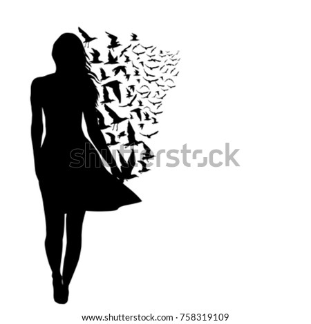 silhouettes of woman and birds