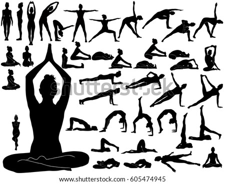 silhouettes of woman doing yoga