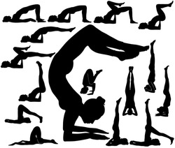 Silhouettes of woman in upturned yoga poses for relax spine, balance and strong arms. Shapes of girl practicing yoga exercises isolated on white background.