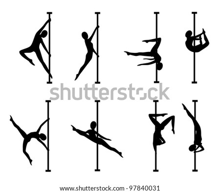 Silhouettes of women with a pole