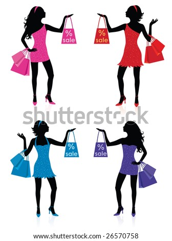 silhouettes of women. Silhouettes of women with