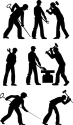Silhouettes of working steelmakers and metallurgists on a white background