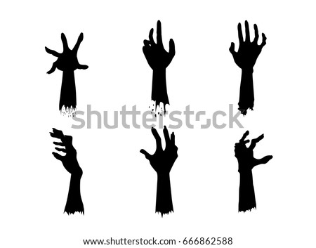 silhouettes of zombie hands in