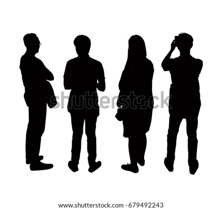 Silhouettes people from the back, eps, vector