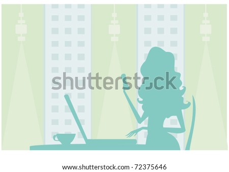 silhouettes secretary working with computer