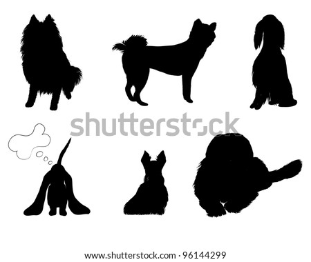 silhouettes set breeds of dog vector illustration eps 8 - stock vector
