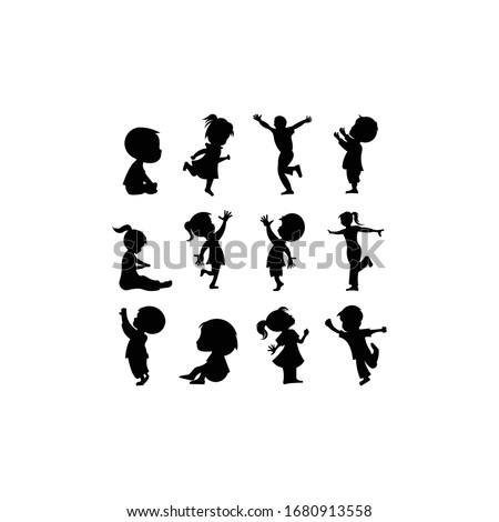 Silhouettes set of children playing outdoor on white background