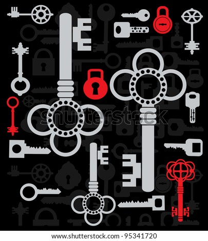 Silhouettes set of keys and locks on a black