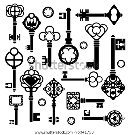 Silhouettes set of keys and locks on a white