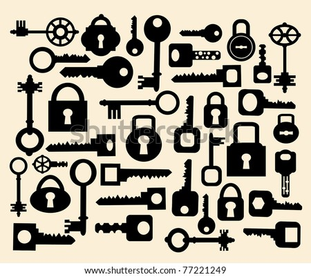 Silhouettes set of keys and locks on a yellow - stock vector