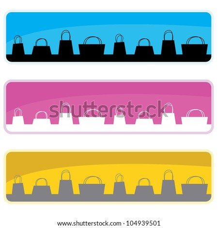 silhouettes shopping bags with background banners