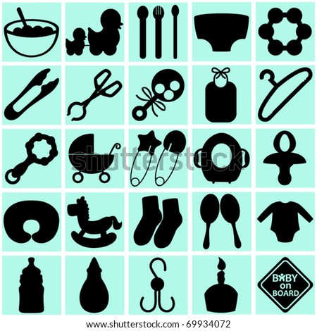 Silhouettes Vector of Accessories and tools for Mom mother and Baby. A set of cute icon collection on blue isolated on white background