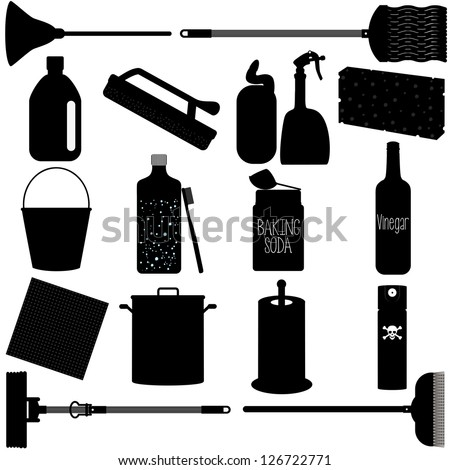 Silhouettes Vector of baking soda, vinegar, sponge, brush, chemical, Domestic housework Tools for Washing, Household Cleaning Equipments. A set of cute icon collection isolated on white background