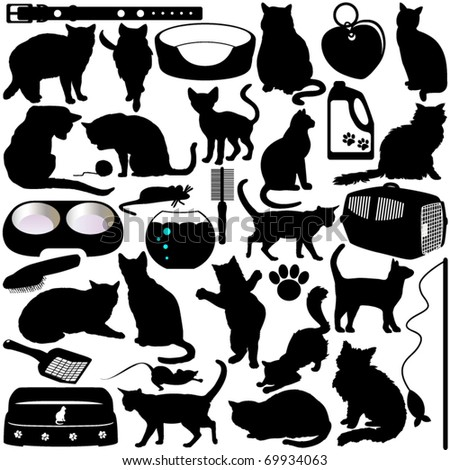 Silhouettes Vector of Cats, Kittens in different actions and pet accessories. A set of cute icon collection isolated on white background