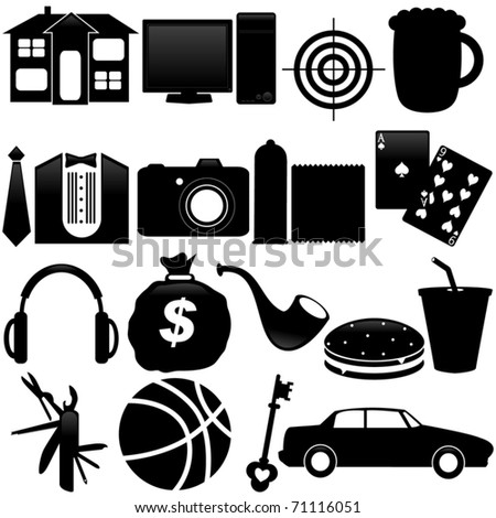 Silhouettes Vector of what men want - house, beer, car, games, money, target. A set of cute icon collection isolated on white background