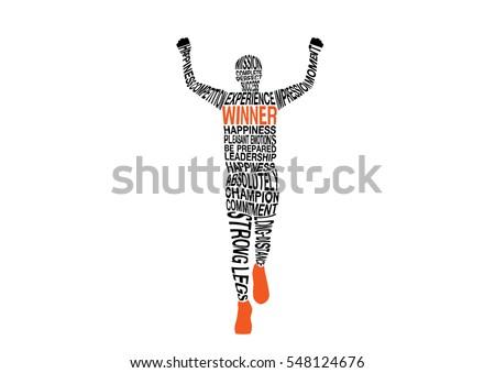 silhouettes vectors of winner