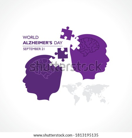 Silhouettes with puzzle pieces. Vector illustration of World Alzheimer's Day observed on September 21