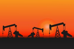 Silhoutte of oil rig during sunset vector