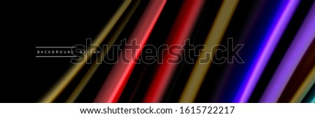 Silk and smooth flow wave poster design. Color waves, liquid style lines and shapes in black color background. Vector Illustration For Wallpaper, Banner, Background, Card, Book, Illustration, landing