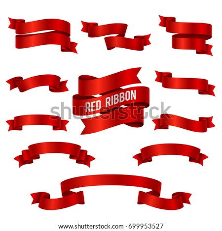 Silk red 3d ribbon banners vector set isolated. Illustration of red ribbon collection for decoration swirl
