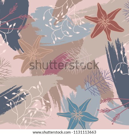 Silk scarf design with flowers lineart and  colorful abstract brush