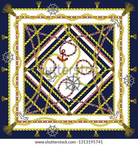 Silk scarf with marine motifs. On the colored background of an anchor, helm, rope. Vector.