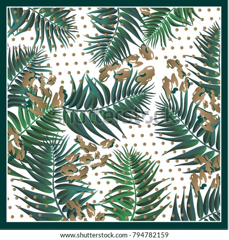 Silk scarf with palm leaves on grunge background with leopard spots.. Vintage textile collection.