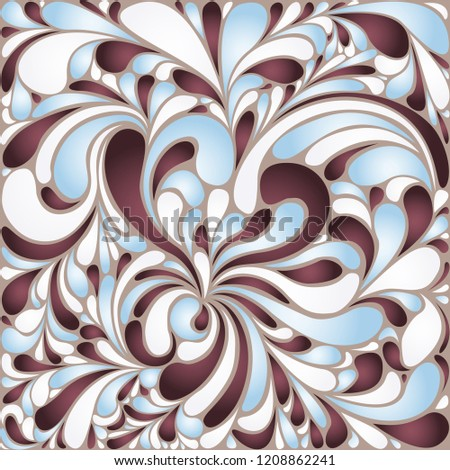 Silk texture fluid shapes, gradient color abstract branches elegant floral pattern, stylized flower organic print, vector ornate background. Swirly floral twirls stylized organic tile sample.