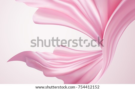 Silky chiffon elements, pink elegant fabric floating in the air, 3d illustration