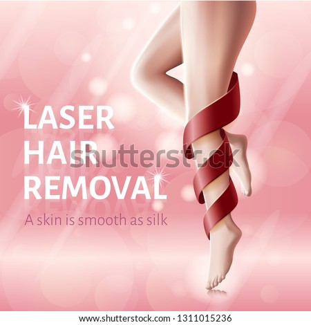 Silky Legs Skin Concept. Laser Hair Removal. Advertising Banner for Woman. Red Ribbon around Leg. Smooth Skin. Perfect Female Beauty Salon. Pink Background. Cosmetological Procedure. Vector EPS 10.