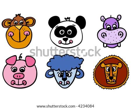 Silly cartoon animal faces - stock vector