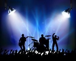 Silouette of dancing at a rock concert