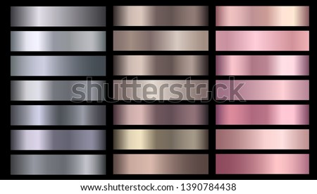 Silve, bronze, rose gold pink metallic foil texture vector gradients set. Bronze metallic, beige gradient colorful illustration gradation for backgrounds, banner, user interface, flyers, ribbon
