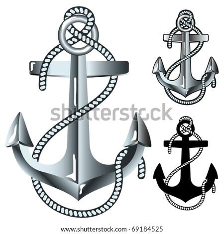 Silver anchor. Vector illustration.